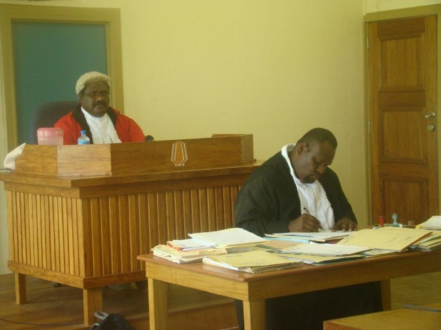 Judge John Kawi during a court session in Arawa.